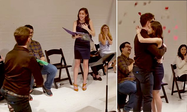 Playwright tricks his GF into proposing by writing it into a script