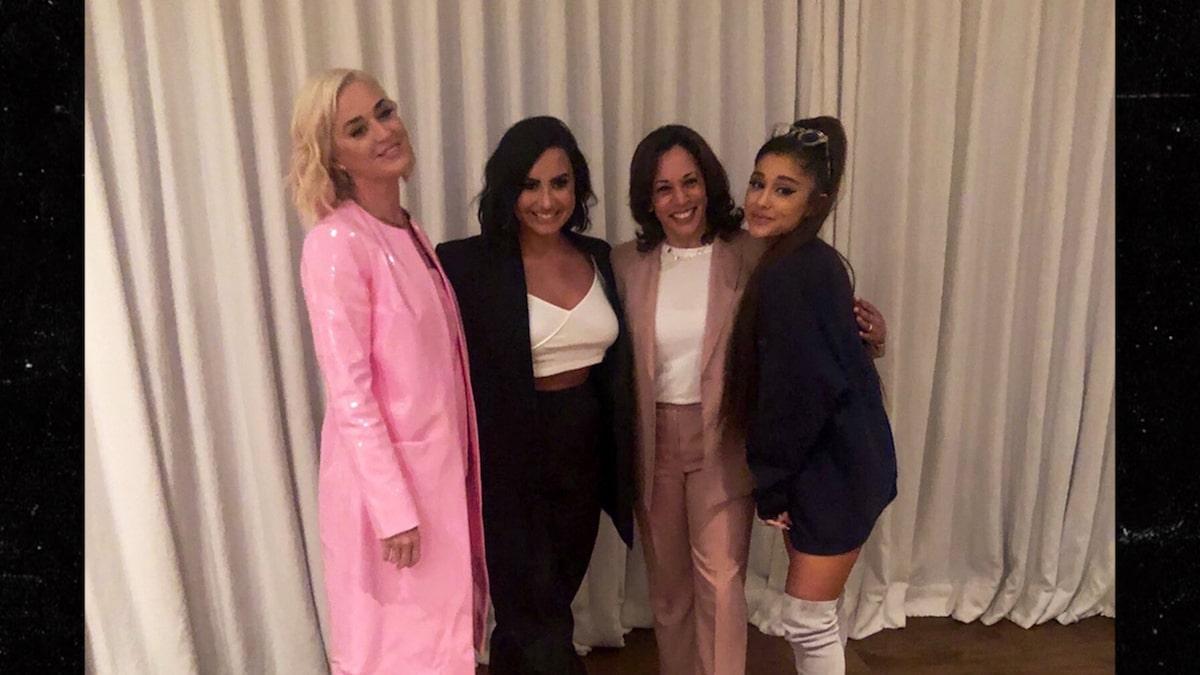 Kamala Harris' CA Fundraiser Crashed by Ariana Grande, Katy Perry, Demi Lovato