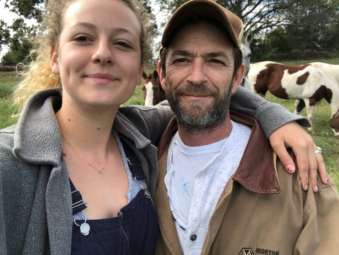 Luke Perry's son poses by his dad's movie billboard