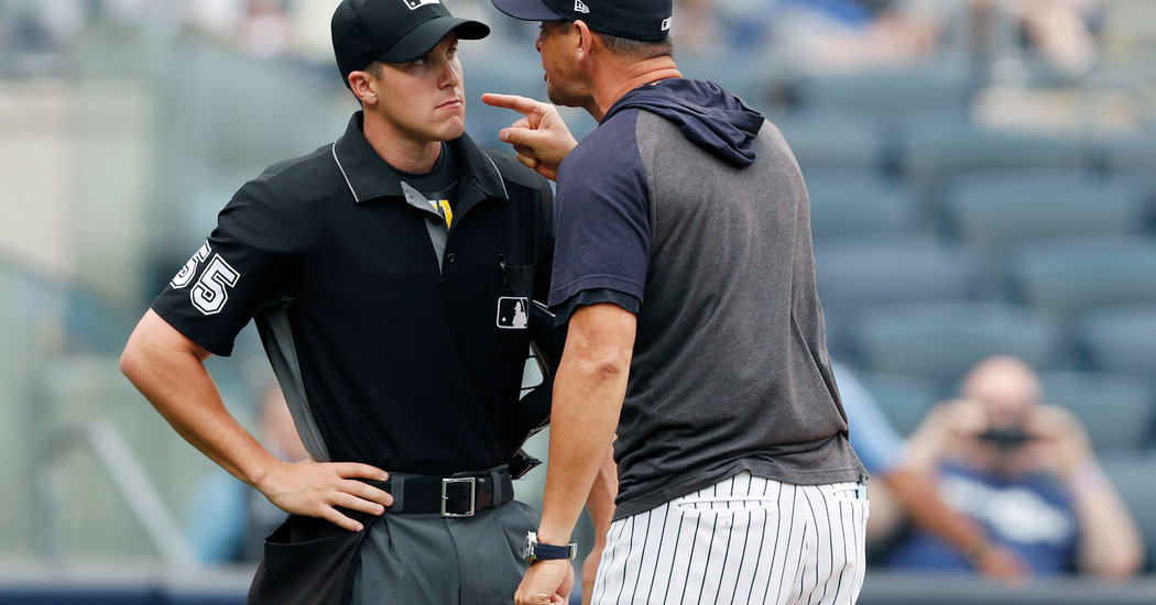 Aaron Boone Berates an Umpire, and the Yankees Take 2 From the Rays