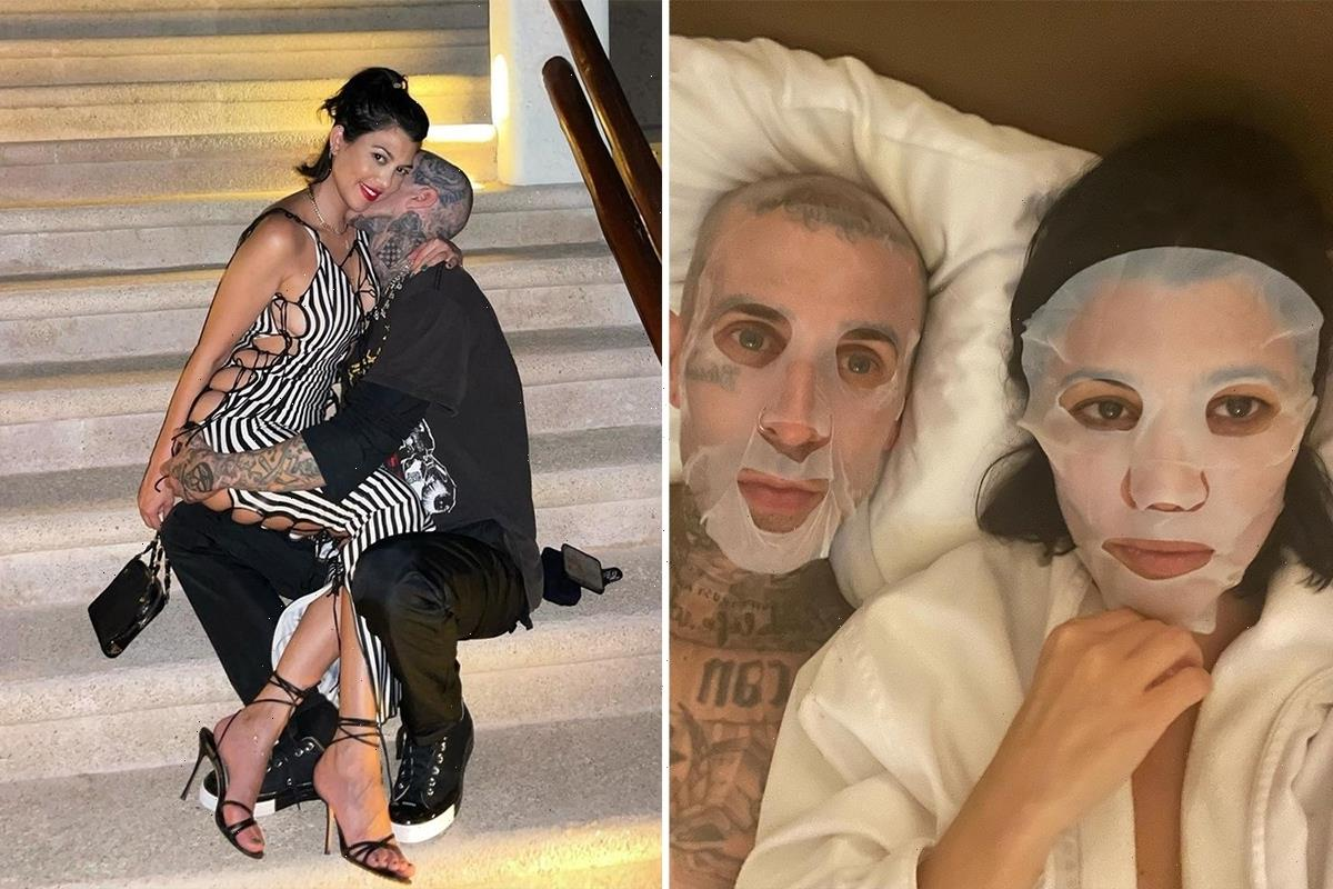 Kourtney Kardashian goes makeup-free as she & Travis Barker relax with skincare masks in bed amid pregnancy rumors