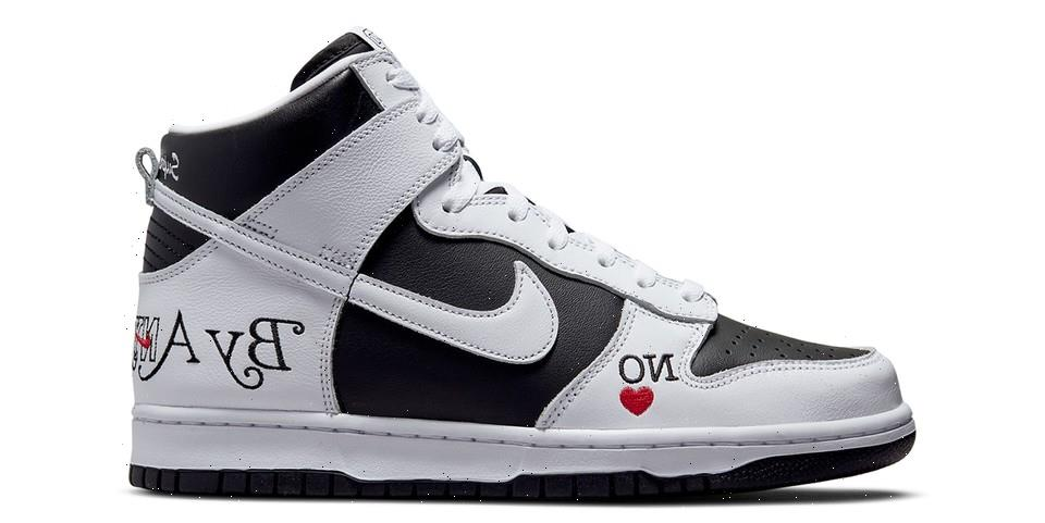 """Official Images of the Supreme x Nike SB Dunk High """"By Any Means"""" in """"Black/White"""""""