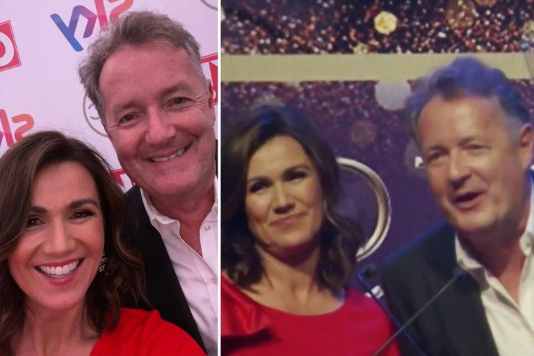 The sweet moment Piers Morgan shares his Tric Award win for Best News Presenter with Susanna Reid