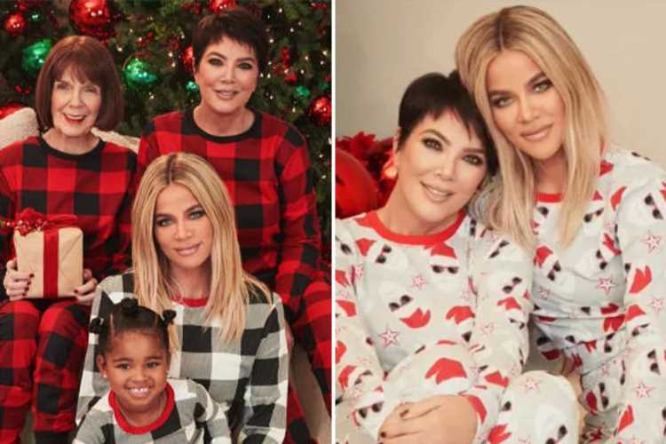 Khloe Kardashian looks unrecognizable with blue eyes for new Christmas ad with mom Kris, grandma MJ & daughter True, 3